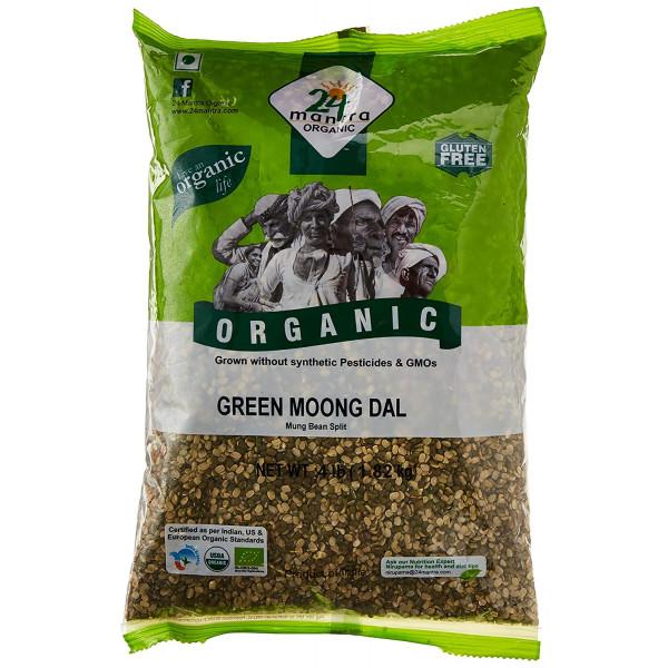 24 Mantra Organic Green Moong Dal 4 LB / 1.8 KG