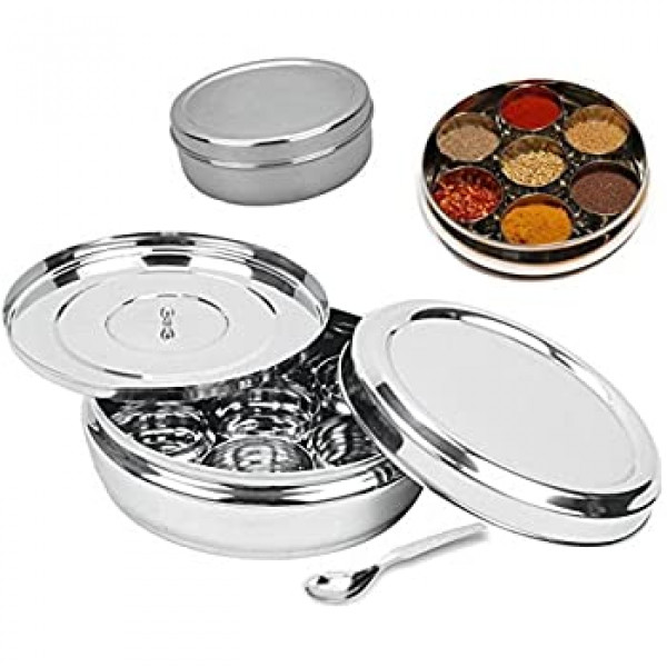 Vinod 10 pcs Spice Box  set includes 9 Bowls, 1  Spoon,  1 Flat lid & 1 Closure lid