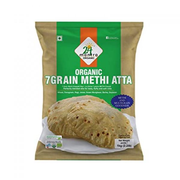 24 Mantra Organic 7 Grain Methi Atta/flour 2.2 Lb / 1 Kg