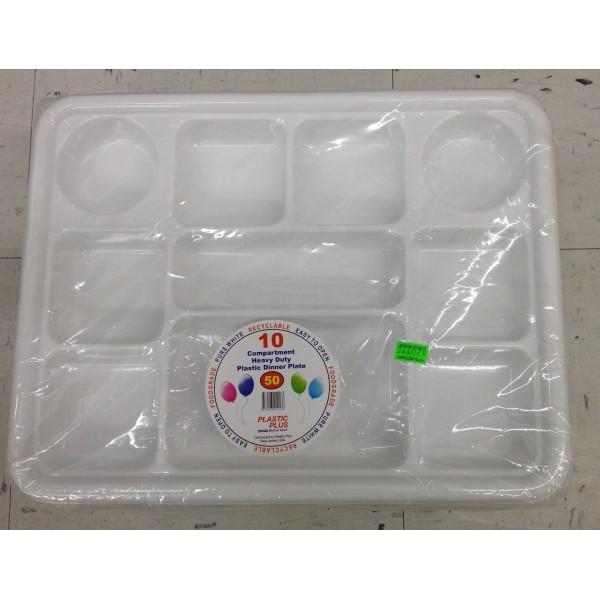 Plastic Plus 10 Compartment heavy Duty Plastic Dinner Plate 16 OZ / 454 Gms