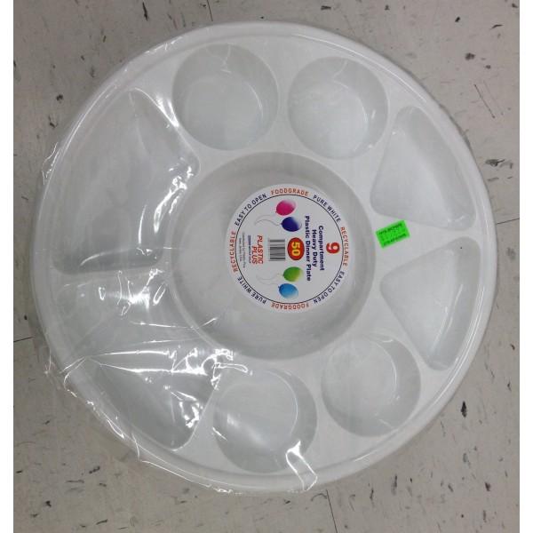 Plastic Plus 9 Compartment heavy Duty Plastic Dinner Plate 16 OZ / 454 Gms