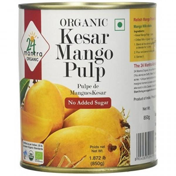 24 Mantra Organic Kesar Mango Pulp 850 Gms